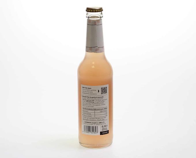 Pink Grapefruit Limonade 0,33l Flasche Rückseite